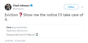 chad johnson eviction tweet