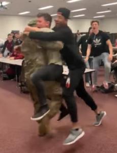 coach olson surprises students