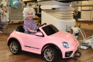 tiny patient rides in style to surgery