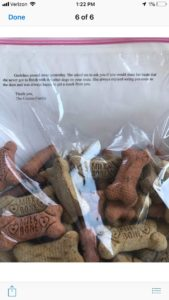 note and treats from grieving owners