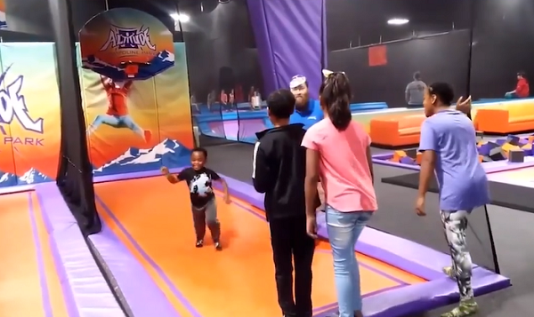 Army Mom's Kids Literally Jump For Joy When She Surprises Them At Trampoline Park.
