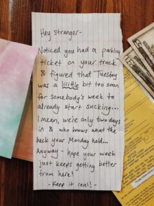 Reddit User Finds $25 And Kind Note Under Parking Ticket