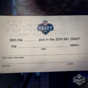 first nfl draft card in braille