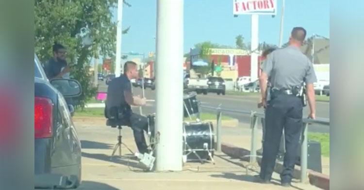 cop drumming okc