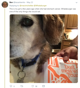 whataburger tweet dog