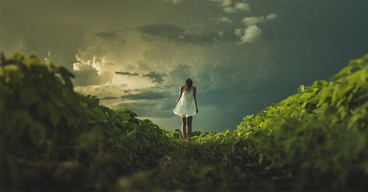 girl green meadow
