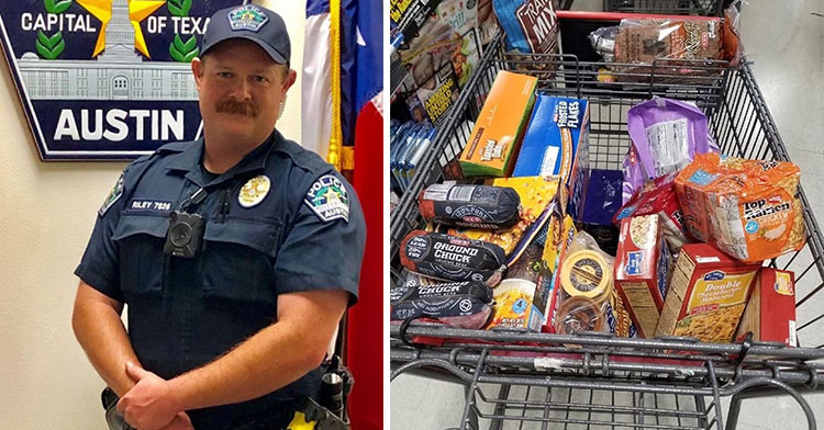 cop buys groceries
