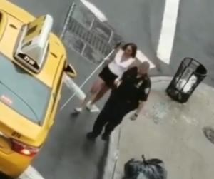 cop assists blind woman