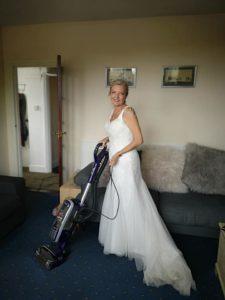 wedding dress vaccuuming