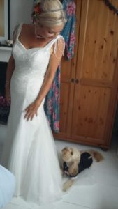dawn wedding dress dog