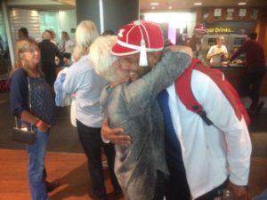 lewis and sandra hug