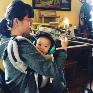 mother son and trombone