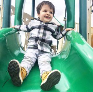 landon on slide