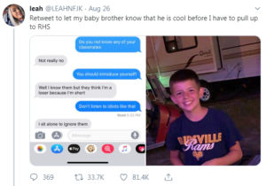 leah's tweet