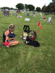 katie and lane at brett's grave