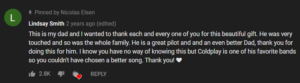 lindsay's youtube comment