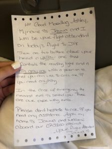 flight attendant's kind note