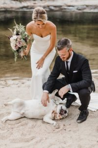 goofy dog wedding photo