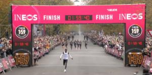 kipchoge crosses finish line