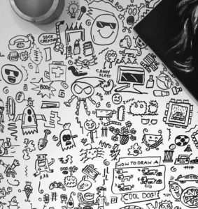 doodle boy wall drawings