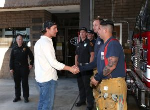 Matthew McConaughey meets firefighters