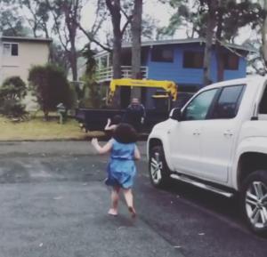 girls run to dad