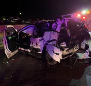 totaled police cruiser