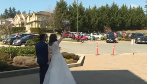 wedding in parking lot