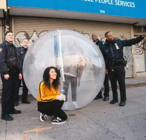 bubble selfie with cops