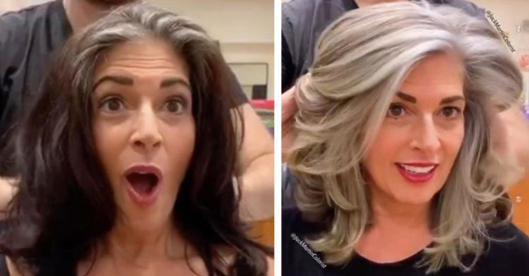 Hairstylist Shares 10 Stunning Before-And-Afters Of People Embracing Their Gray Hair.