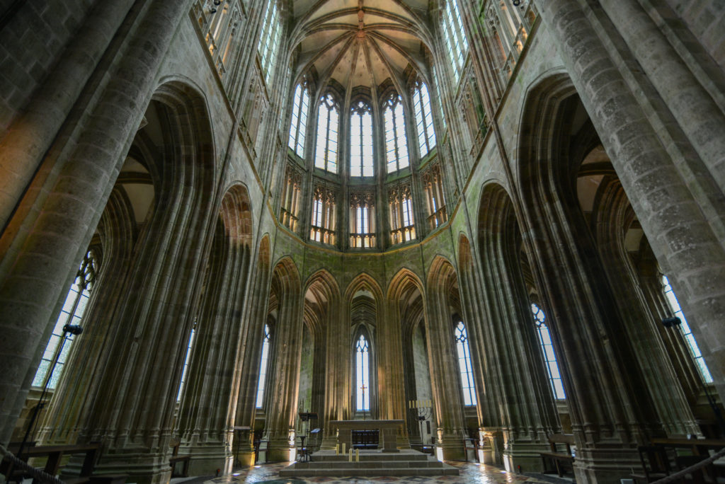 mont-saint-michel abbey interior