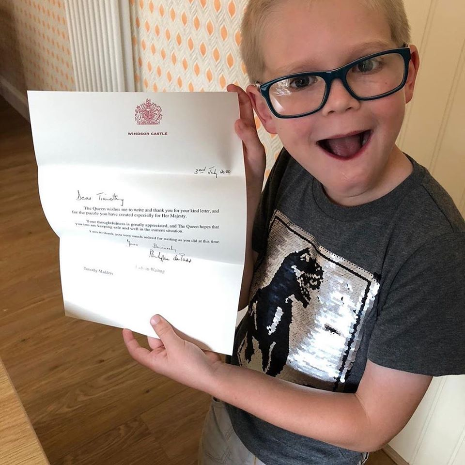 timothy holds queen's letter