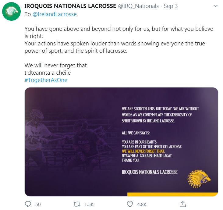 iroquois nationals tweet