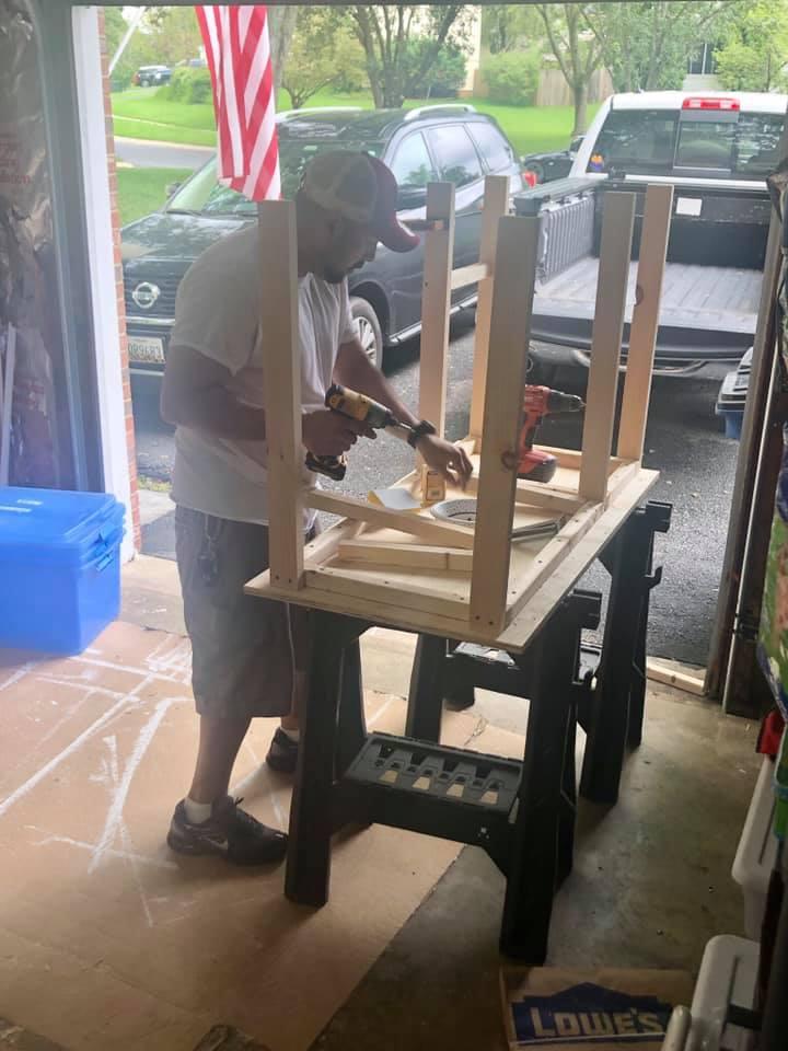 dad builds desk