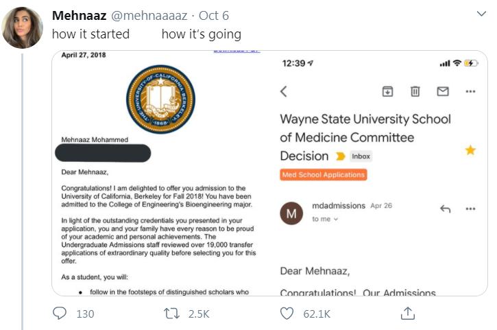 acceptance letters tweet