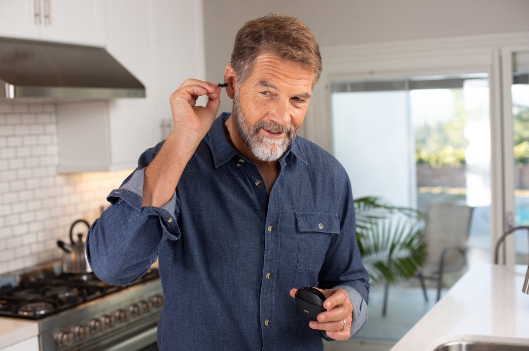 man with eargo hearing aid