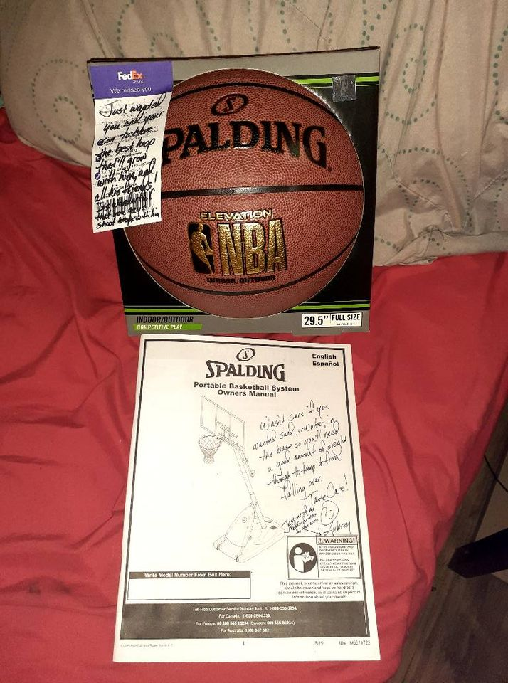 basketball and note