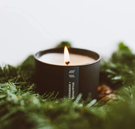 evergreen and eucalyptus candle