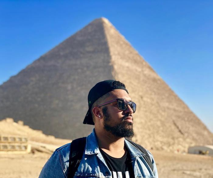 dustin at the pyramids in egypt