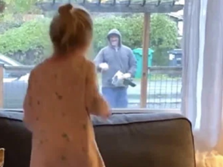 girl dancing with mailman