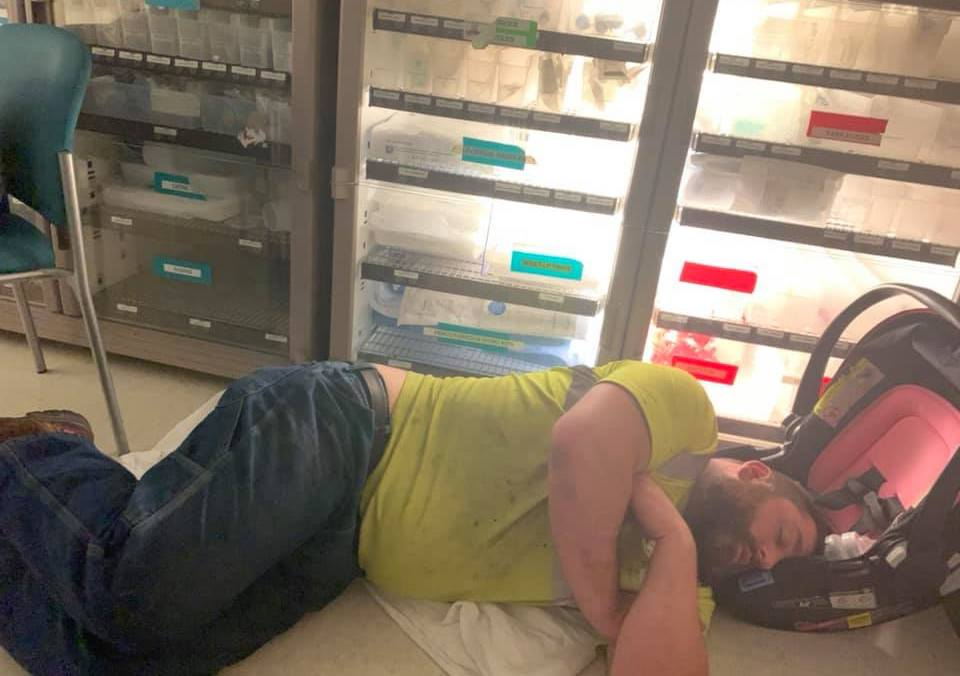 joe sleeping at hospital