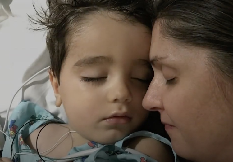 mom and son in hospital