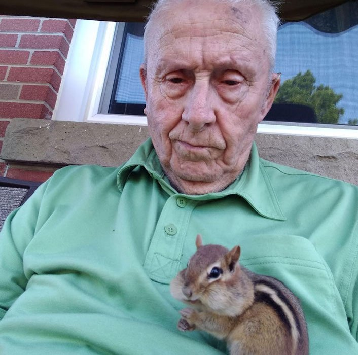 grandpa and squirrel selfie