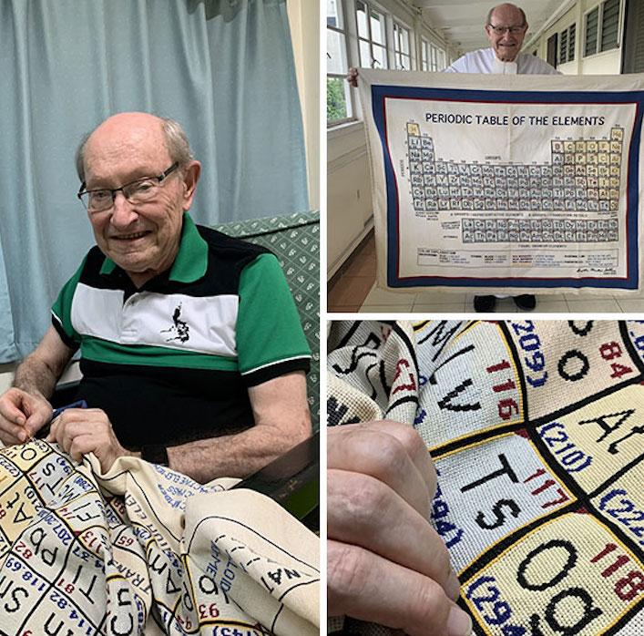man's periodic table cross-stitch