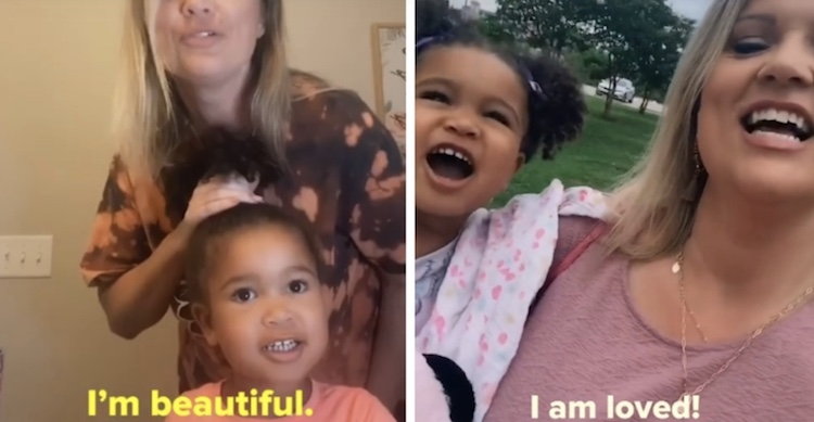 mom and daughter saying affirmations