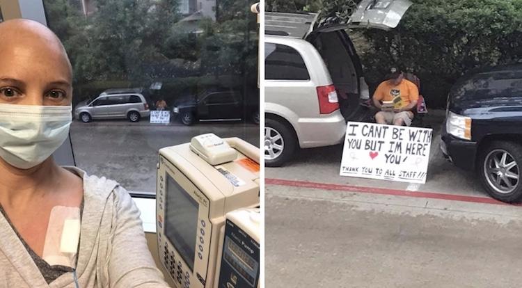 man outside wife's hospital