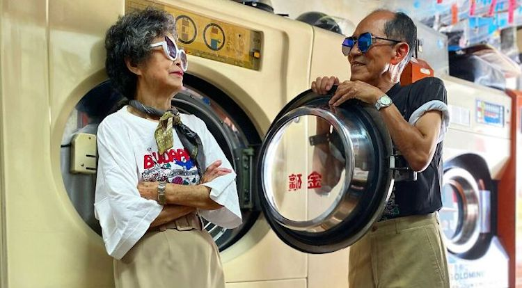 couple modeling in laundromat