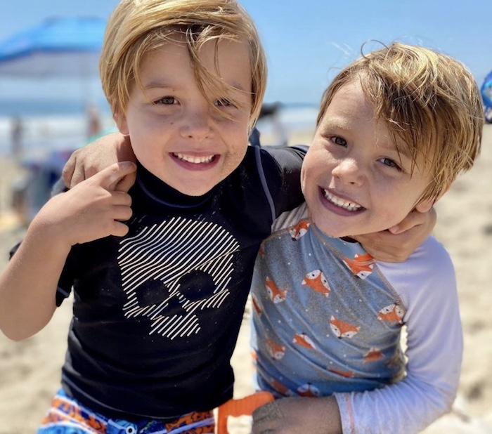 twin boys at the beach