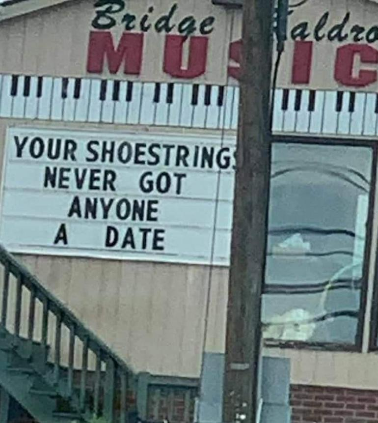 witty music store sign