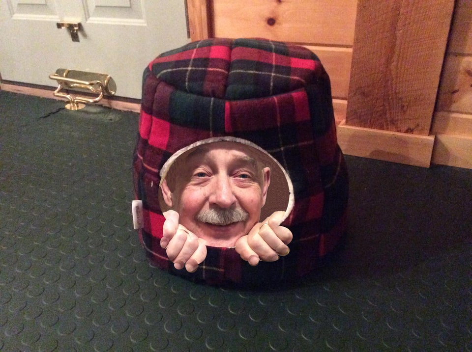 grandpa's head photoshopped into cat bed
